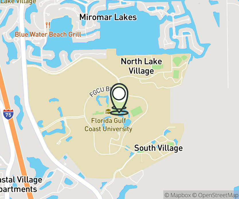 Map with pin near 10501 FGCU Blvd S., Ft. Myers, FL 33965 for Florida Gulf Coast University.