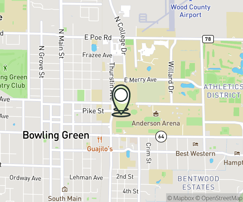 Map with pin near Bowen Thompson Student Union, Bowling Green, OH 43402 for BGSU - Bowling Green State University.