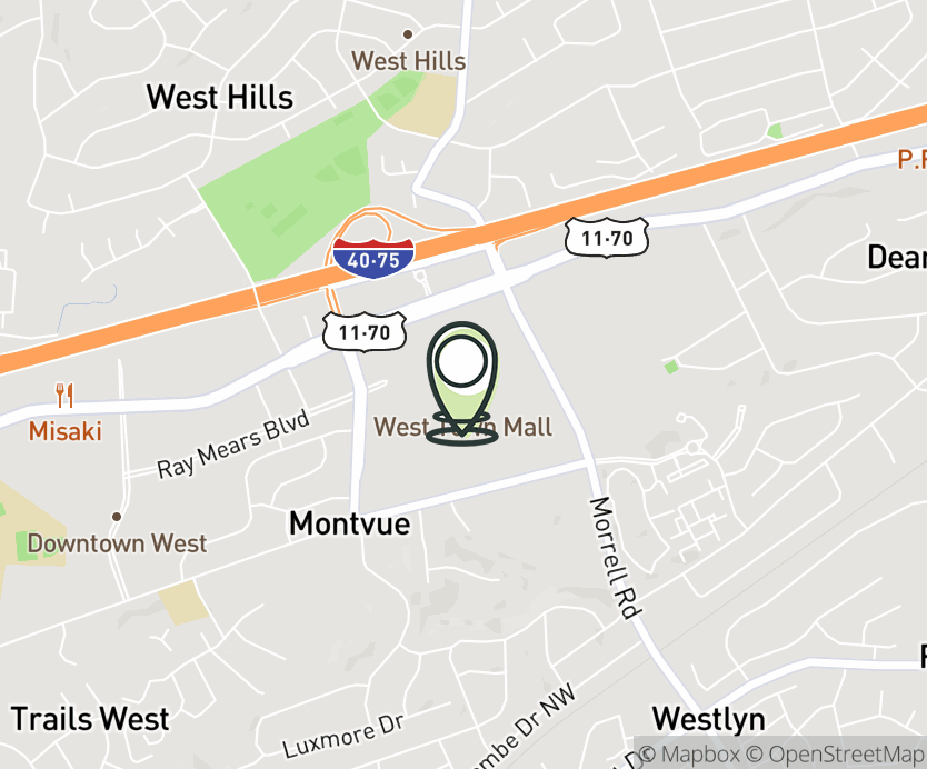 Map with pin near 7600 Kingston Pike, Knoxville, TN 37919 for West Town Mall.