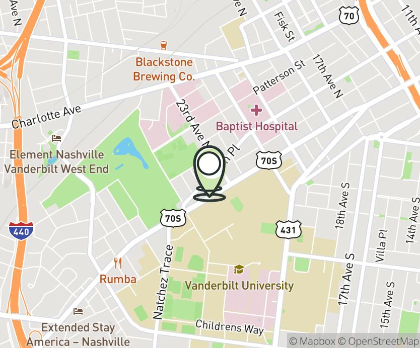 Map with pin near 2314 Elliston Place, Nashville, TN 37203 for Elliston 23.