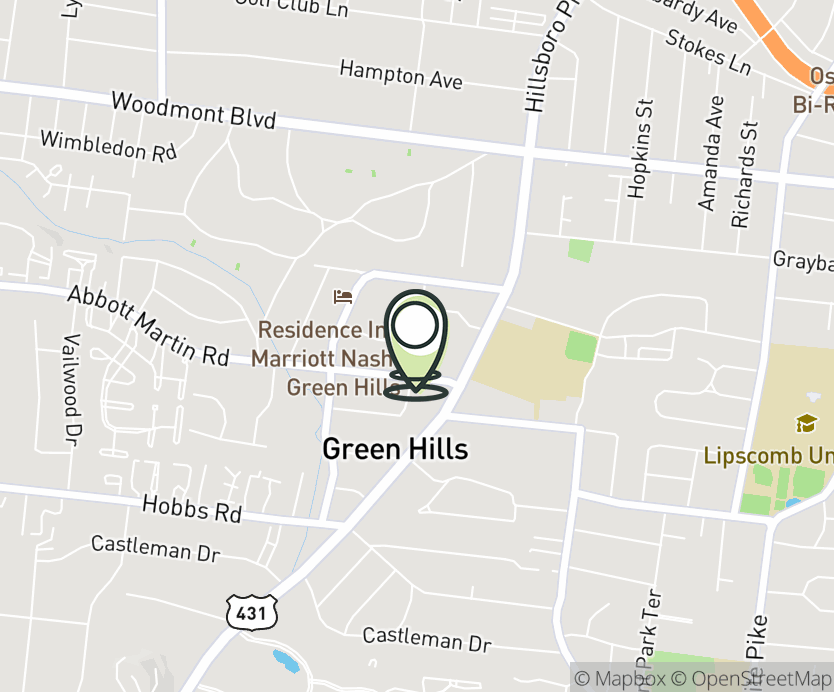 Map with pin near 2126 Abbott Martin Rd, Nashville, TN 37215 for The Mall at Green Hills.