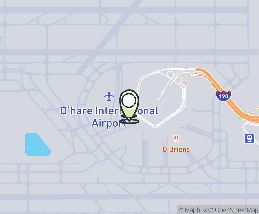 Map with pin near 10000 West O'Hare Terminal 1, Chicago, IL 60666 for ORD - Chicago O'Hare Airport - Terminal 1.
