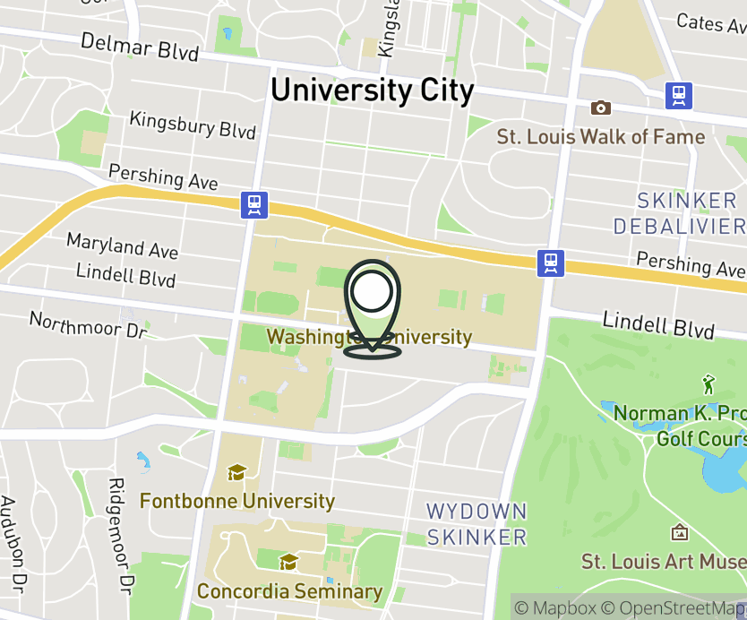 Map with pin near 6465 Forsyth Blvd, St. Louis, MO 63105 for Washington University in St.Louis.