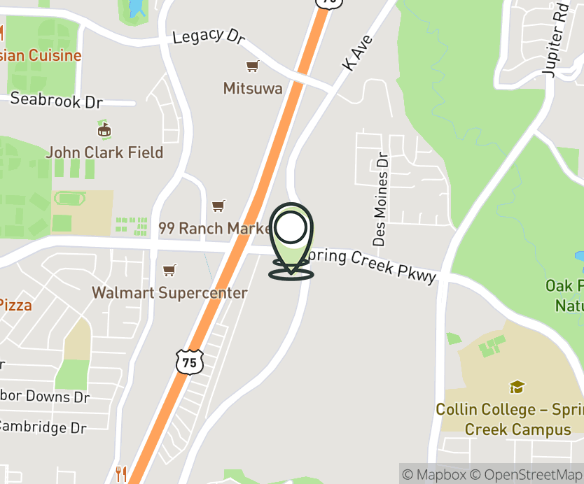 Map with pin near 1201 E. Spring Creek Pkwy, Plano, TX 75074 for Spring Creek Plaza.