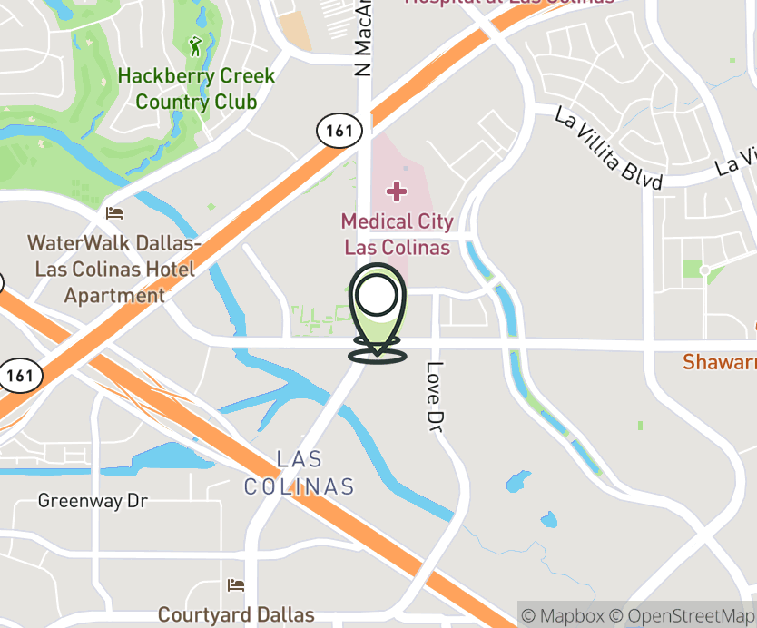 Map with pin near 6440 N. MacArthur Blvd., Irving, TX 75039 for Las Colinas Village.