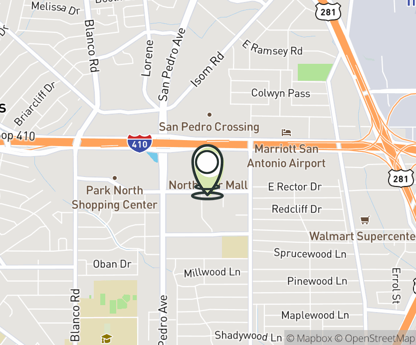 Map with pin near 7400 San Pedro, San Antonio, TX 78216 for North Star Mall.