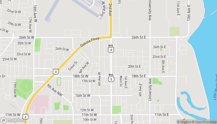 Map of 2103 Second Avenue West in Williston