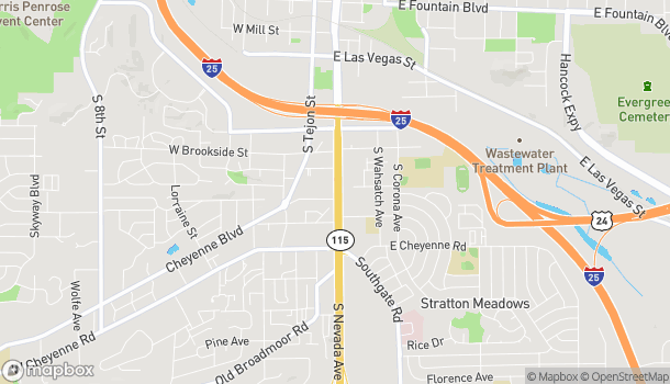 Mapa de 1634 S Nevada Ave en Colorado Springs