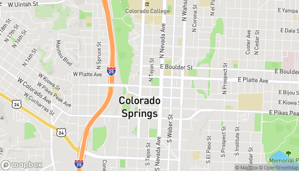 Map of 202 N Tejon St in Colorado Springs