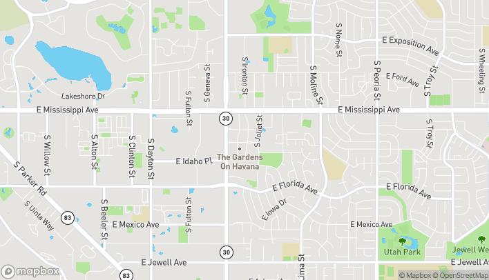 Mapa de 10651 E Garden Drive en Aurora