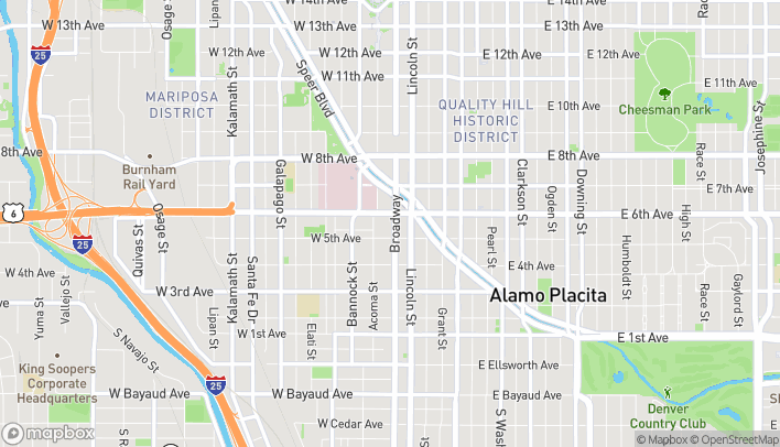 Map of 555 Broadway in Denver