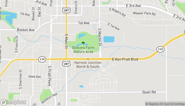 Mapa de 180 Ken Pratt Blvd en Longmont