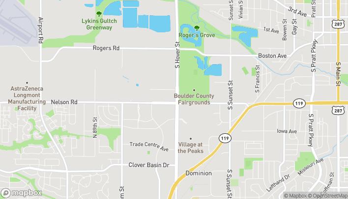 Mapa de 589 S Hover Street en Longmont