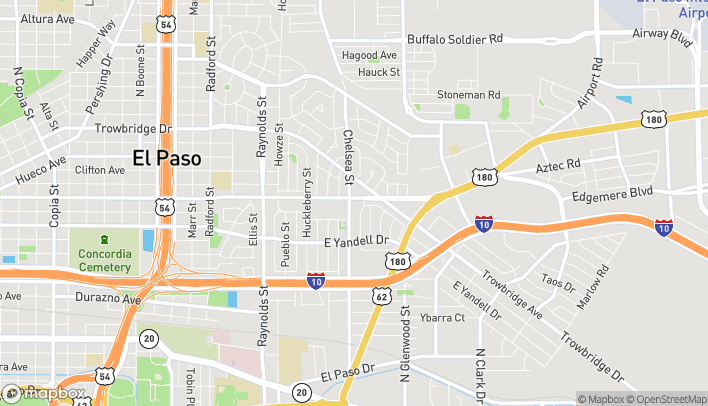 Map of 5400 Montana Ave in El Paso