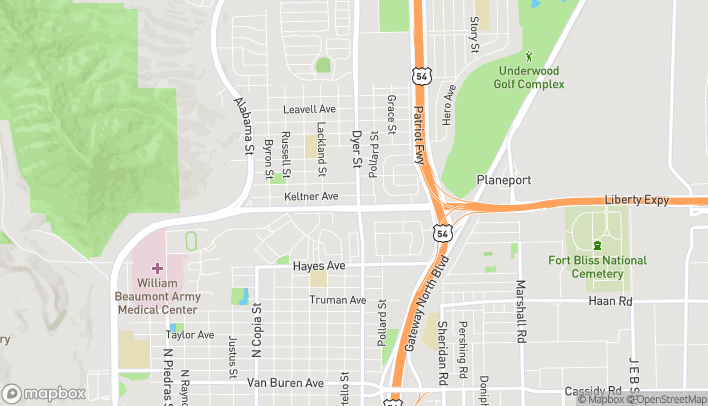 Map of 5301 Dyer St in El Paso