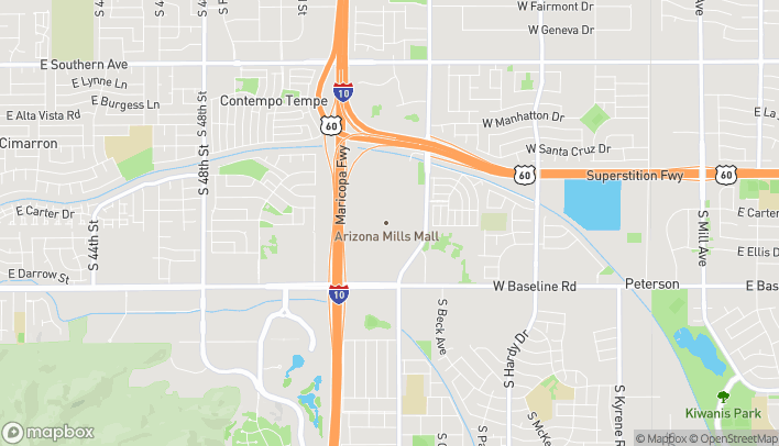 Mapa de 5000 S Arizona Mills Cir en Tempe