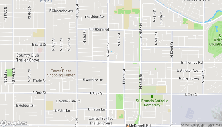 Map of 4423 E Thomas Rd in Phoenix