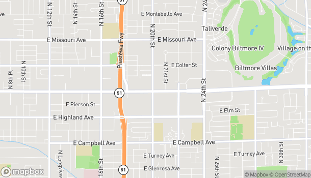 Map of 2002 E Camelback Rd in Phoenix