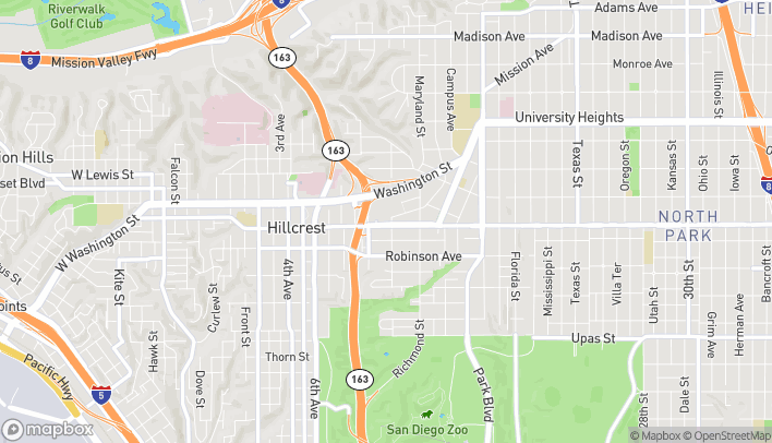 Map of 1060 University in San Diego