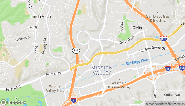 Mapa de 5658 Mission Center Road en San Diego