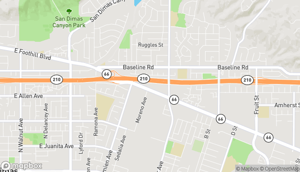 Map of 1215 Foothill Blvd in La Verne