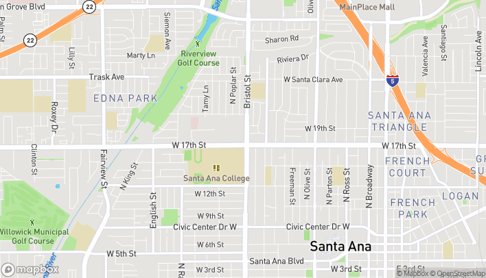 Map of 1702 N Bristol St in Santa Ana