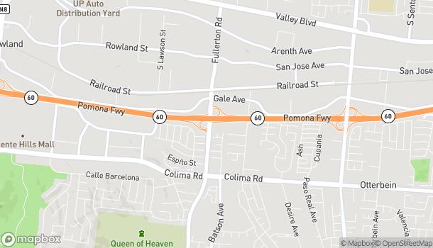 Mapa de 1390 S Fullerton Rd en Rowland Heights