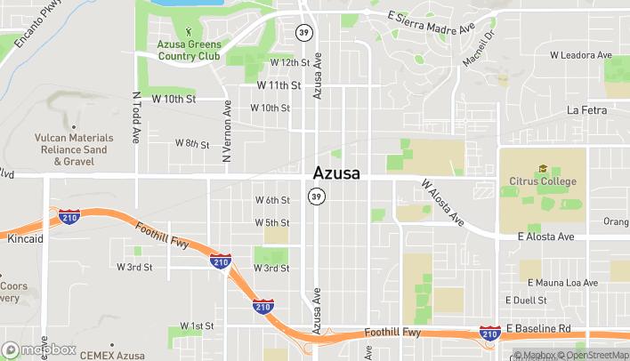 Mapa de 100 W Foothill Blvd en Azusa