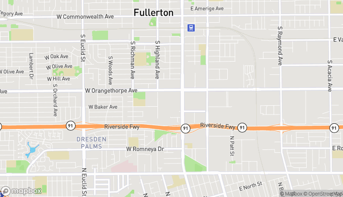 Mapa de 1345 S Harbor Blvd en Fullerton
