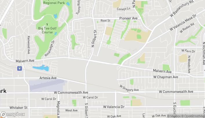 Mapa de 1939 W Malvern Ave en Fullerton