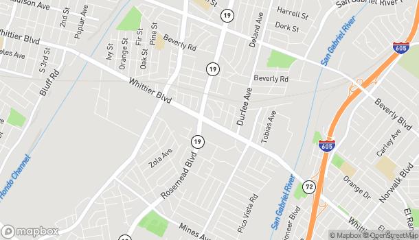Mapa de 9077 Whittier Blvd en Pico Rivera