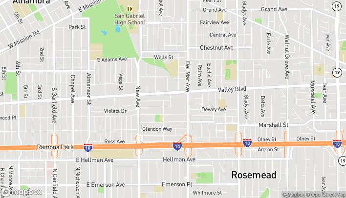 Mapa de 140 W Valley Blvd en San Gabriel