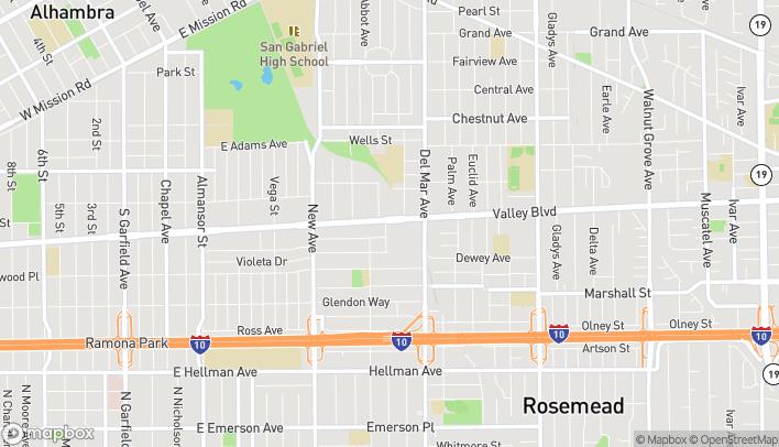 Mapa de 166 W Valley Blvd en San Gabriel