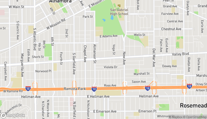 Map of 810 East Valley Blvd in Alhambra