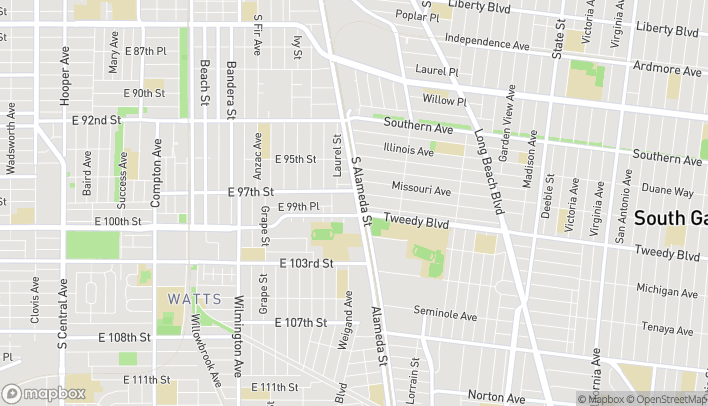 Map of 9851 S Alameda St in Los Angeles