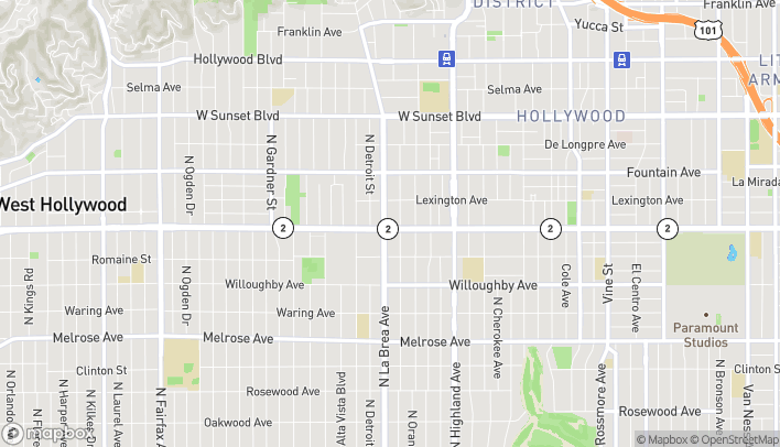 Map of 1112 La Brea Ave in West Hollywood