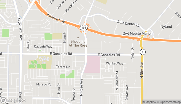 Map of 1956 N. Rose Ave in Oxnard