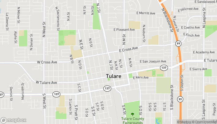 Map of 315 N J Street in Tulare