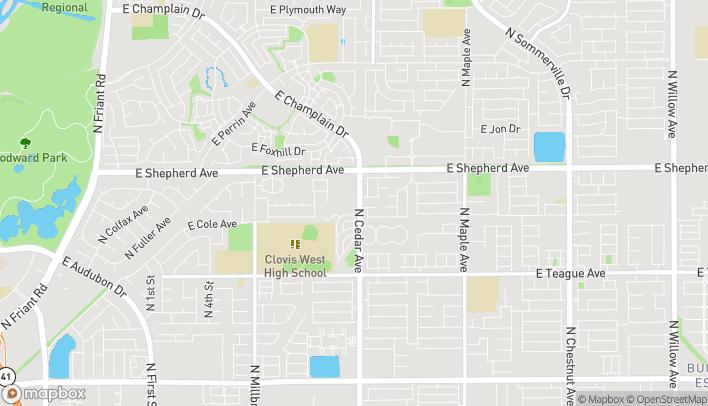 Map of 8817 N Cedar Ave in Fresno