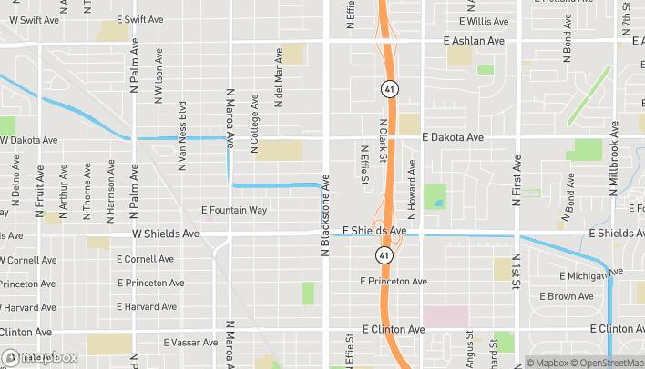 Map of 3611 N Blackstone Ave in Fresno