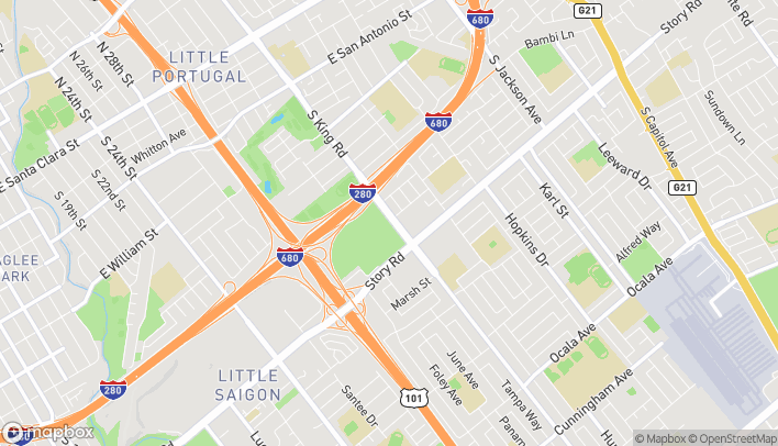 Mapa de 1705 Story Rd en San Jose