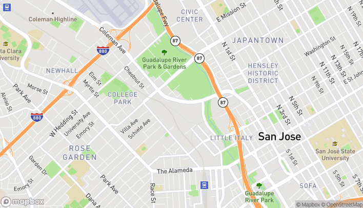 Map of 595 Coleman Ave in San Jose