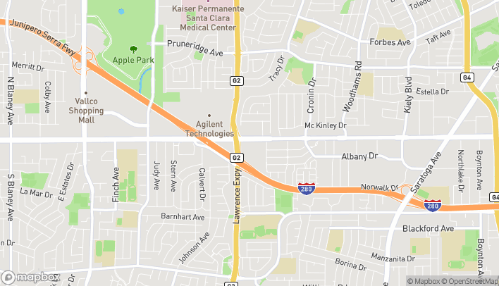 Map of 5180 Stevens Creek Blvd in San Jose