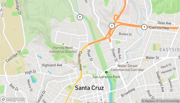 Map of 550 River St in Santa Cruz