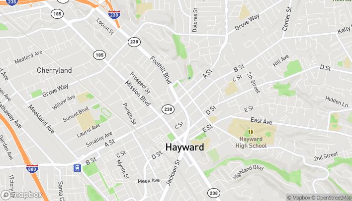 Map of 1098 East A Street in Hayward