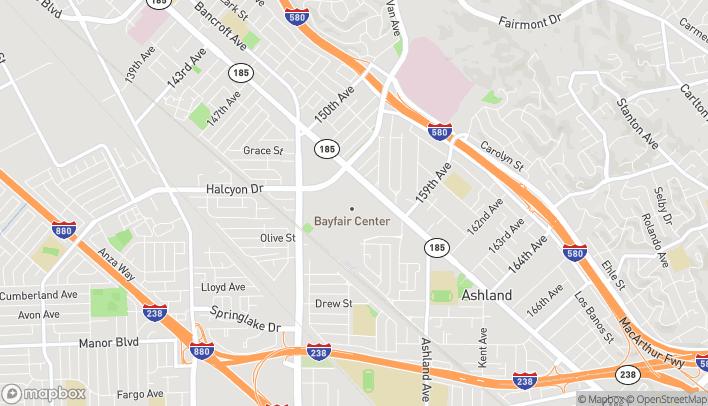Mapa de 15555 E 14th Street en San Leandro
