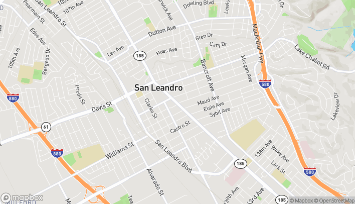 Map of 1580 E. 14th Street in San Leandro