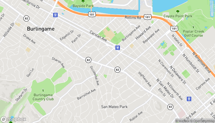 Map of 221 Primrose Rd in Burlingame