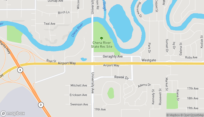 Map of 3576 Airport Way in Fairbanks