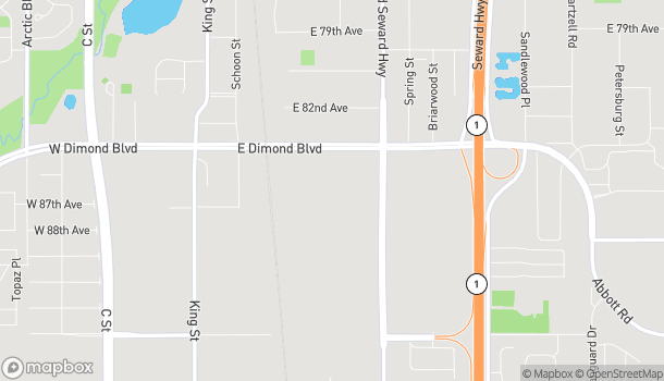 Map of 800 East Dimond Boulevard in Anchorage